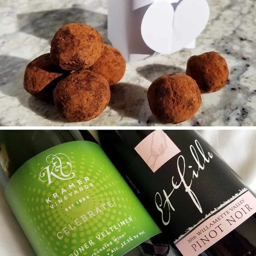 chocolate truffles and two bottles of wine